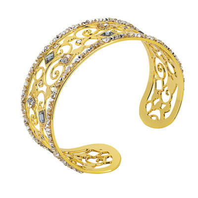 Bracciale rigido dorato a fascia con crystal rock crystal