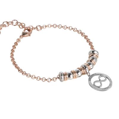 """Bracciale rosato e pendente circolare placcato oro rosa con logo """"amore infinito"""" del Giro d'Italia"""