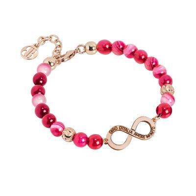 """Bracciale rosato con agata fucsia e logo """"amore infinito"""" del Giro d'Italia"""