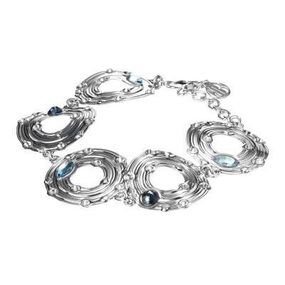 Bracciale con moduli circolari e Swarovski blu