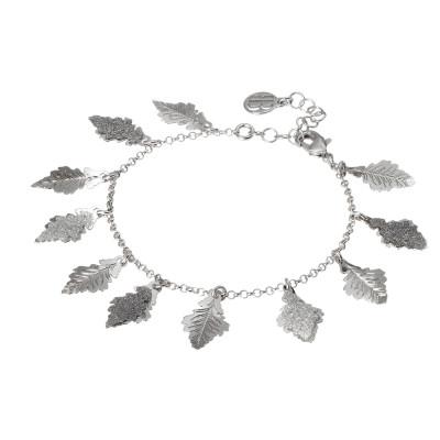 Bracciale rodiato con foglie di quercia