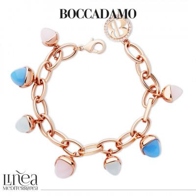 Bracciale con pendenti color calcedonio, quarzo rosa e acquamarina