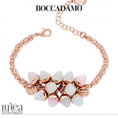 Bracciale doppio filo con cristalli piramidali acquamarina e quarzo rosa