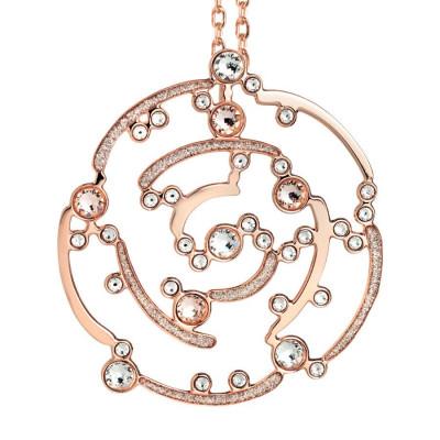 Collana rosata con pendente decorato da glitter e Swarovski