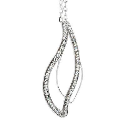 Collana con doppio pendente e Swarovski crystal rock crystal