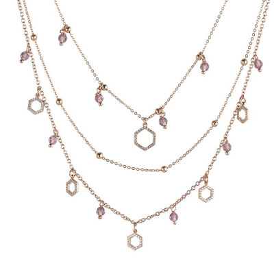Collana rosata multifilo con esagoni zirconati e Swarovski light ametist