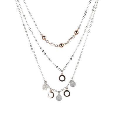 Collana multifilo con perle Swarovski e cerchi zirconati