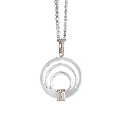 Collana doppio filo con pendente multicentrico e zirconi