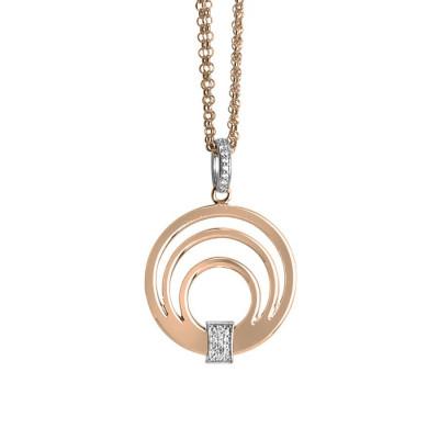 Collana doppio filo rosata con pendente multicentrico e zirconi