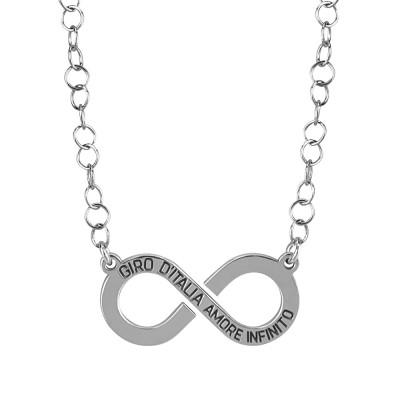 """Collana rodiata con logo """"amore infinito"""" del Giro d'Italia"""