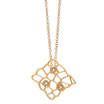 Collana dorata con pendente dalla trama a rete e Swarovski