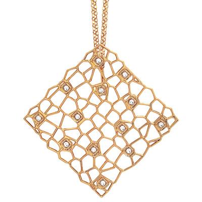 Collana doppio filo dorata con pendente dalla trama a rete e Swarovski