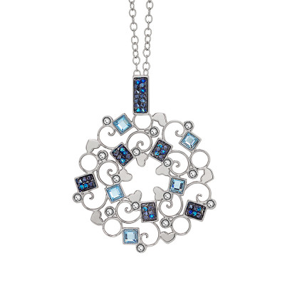 Collana rodiata con rosone in Swarovski crystal rock blu montata