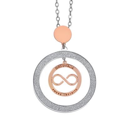 """Collana con pendente glitterato e logo """"amore infinito"""" del Giro d'Italia rosato"""
