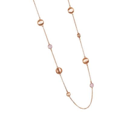 Collana lunga con cristalli peach e color quarzo rosa milk ed elementi graffiati