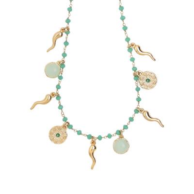 """Collana rosario con cristalli verde acqua e charms tema """"buona sorte"""""""
