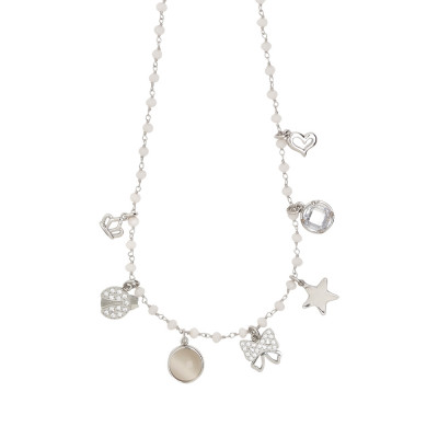 "Collana rosario con cristalli powder white e charms tema ""fashion"""