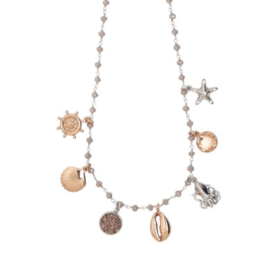 "Collana rosario con cristalli powder white e charms tema ""mare"""