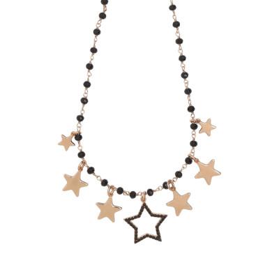 """Collana rosario con cristalli black e charms tema """"stella"""""""