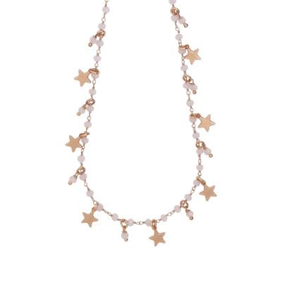 """Collana rosario con cristalli rosa milk e charms tema """"stella"""""""