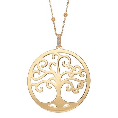 Collana dorata con pendente maxi e albero della vita