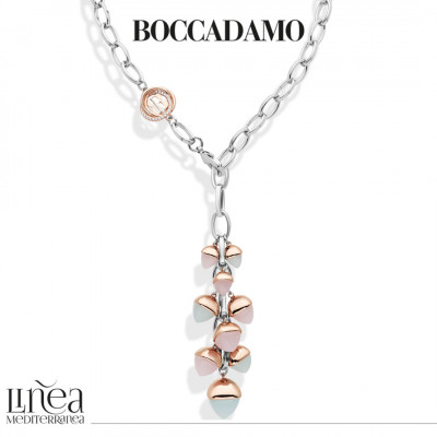 Collana a Y con pendente di cristalli color quarzo rosa e acquamarina