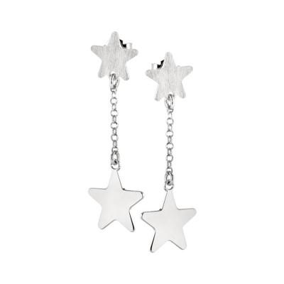 Orecchini rodiati con stella pendente