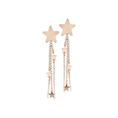 Orecchini rosati con ciuffetto di stelle pendenti