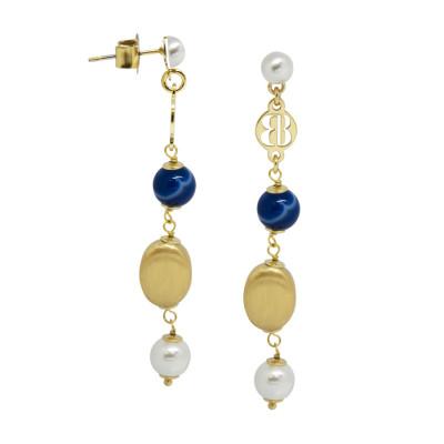 Orecchini con perle Swarovski white e agata mix blue