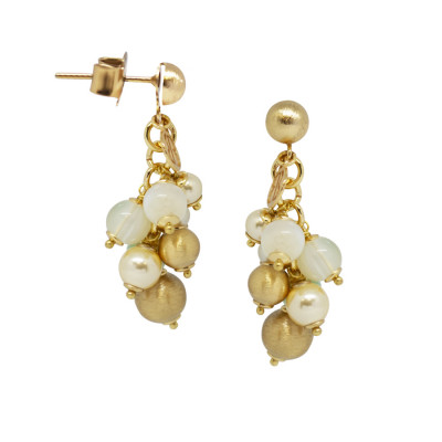 Orecchini con agata light yellow, perle Swarovski light gold e sfere graffiate