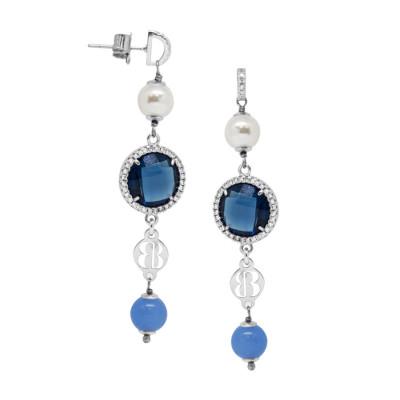 Orecchini con agata light blue, perle Swarovski e zirconi