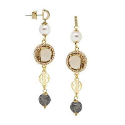 Orecchini dorati con agata grey, perle Swarovski e zirconi