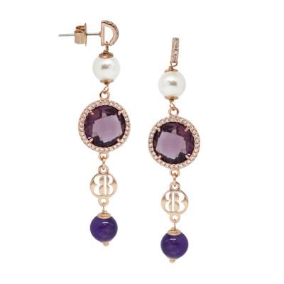 Orecchini rosati con ametista, perle Swarovski e zirconi