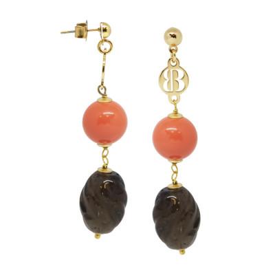 Orecchini con perle Swarovski coral e quarzo fumè torchon