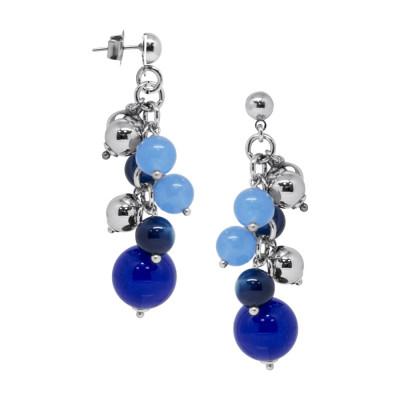 Orecchini  con agata light blue, blue e mix blue