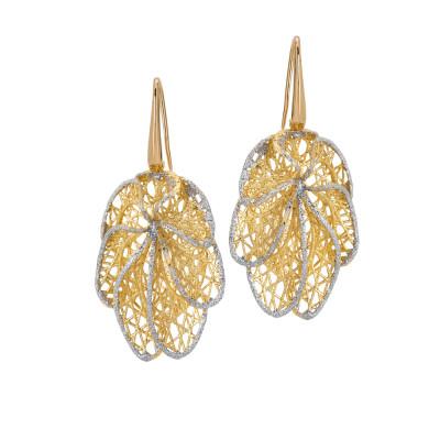 Orecchini dorati con foglia in glitter silver