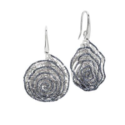 Orecchini con pendente a spirale in glitter nero