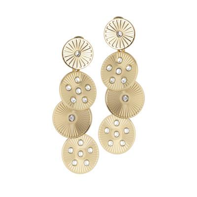 Orecchini pendenti dorati con moduli circolari e Swarovski