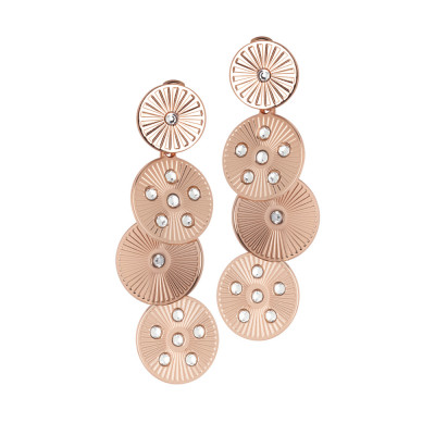 Orecchini pendenti rosati con moduli circolari e Swarovski