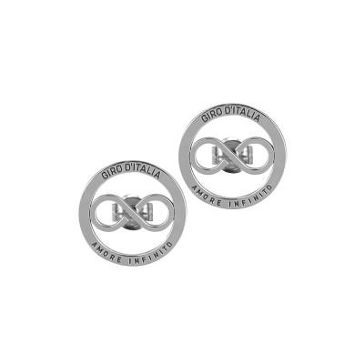"""Orecchini circolari rodiati con logo """"amore infinito"""" del Giro d'Italia"""
