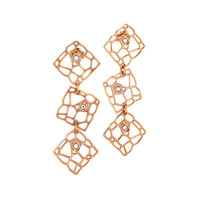 Orecchini modulari rosati dalla trama a rete e Swarovski