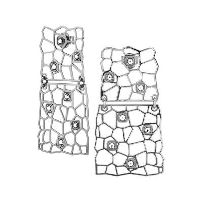Orecchini rodiati con moduli asimmetrici e Swarovski