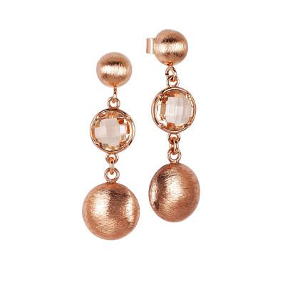 Orecchini pendenti con cristallo peach