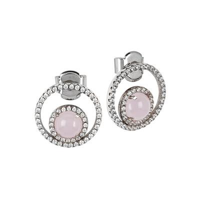 Orecchini con zirconi e cabochon interno rosa chiaro