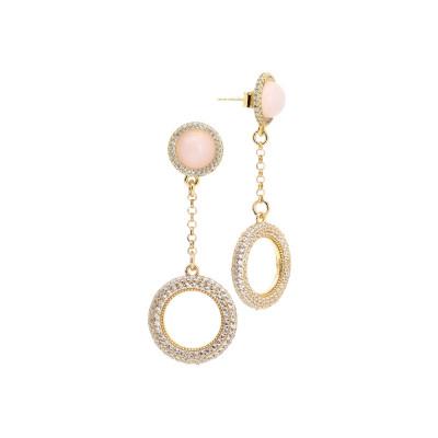 Orecchini con cabochon rosa chiaro e pendente di zirconi