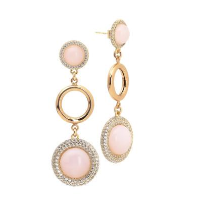 Orecchini con cabochon rosa chiaro e cerchio liscio
