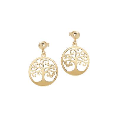 Orecchini dorati con albero della vita pendente