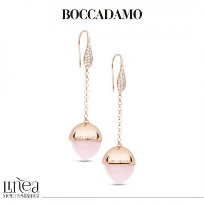 Orecchini monachella con zirconi e cristallo color quarzo rosa