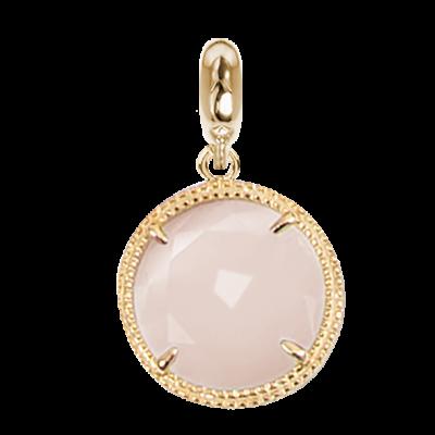 Charmplaccato oro giallo in cristallo sfaccettato rosa