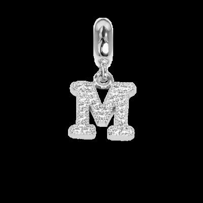 Charm con lettera M in zirconi